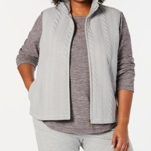 Karen Scott Plus Size Sherpa-Collar Vest